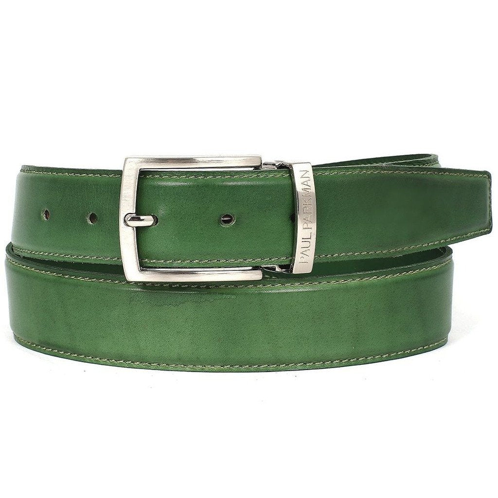 PAUL PARKMAN Men's Leather Belt Hand-Painted Green (ID#B01-LGRN) - Sorta Stuff