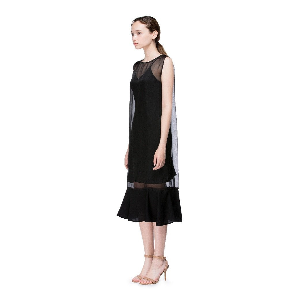 Black Round Neck Flounced Dress - Sorta Stuff