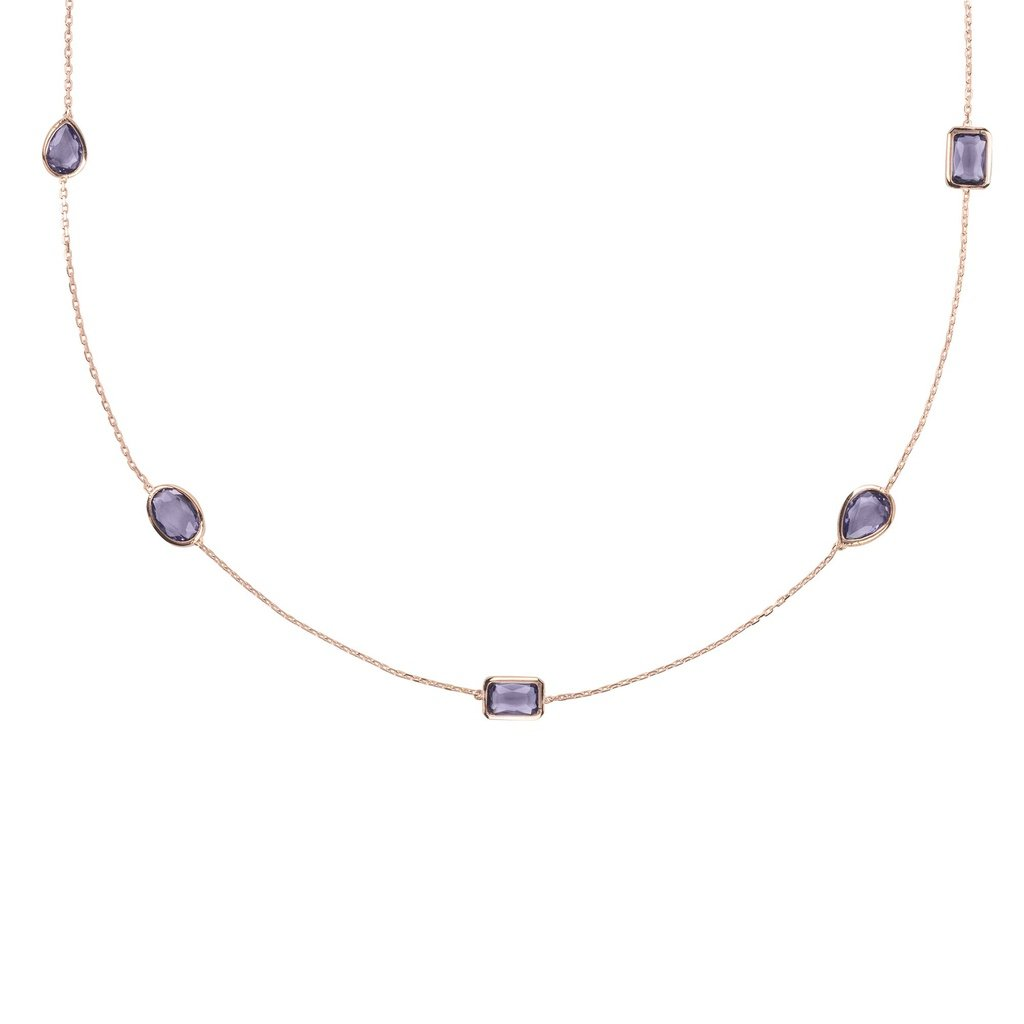 Venice 120cm Long Chain Necklace Rosegold Amethyst - Sorta Stuff