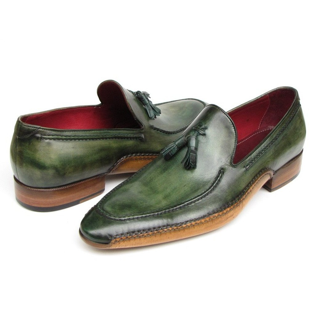 Paul Parkman Men's Side Handsewn Tassel Loafer Green Shoes (ID#082-GREEN) - Sorta Stuff