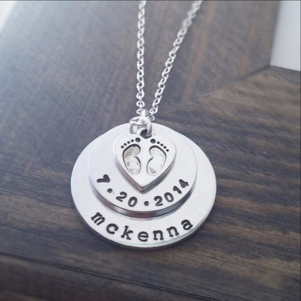 New Baby Necklace with Name and Date - Sorta Stuff