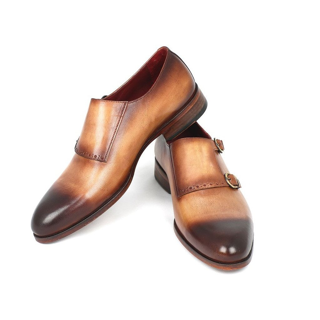 Paul Parkman Two Tone Double Monkstrap Shoes (ID#HT54-CML) - Sorta Stuff