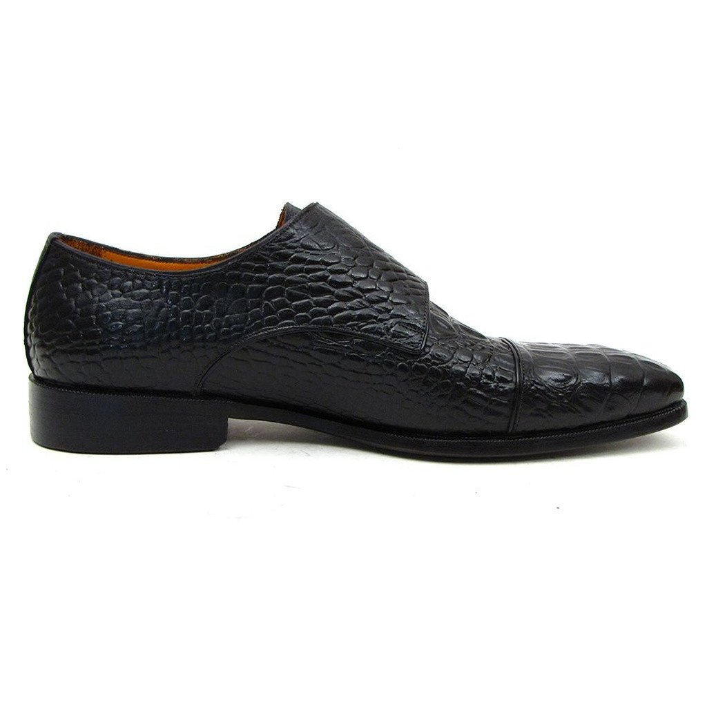 Paul Parkman Double Monkstraps Black Crocodile Embossed Calfskin (ID#045BK41) - Sorta Stuff