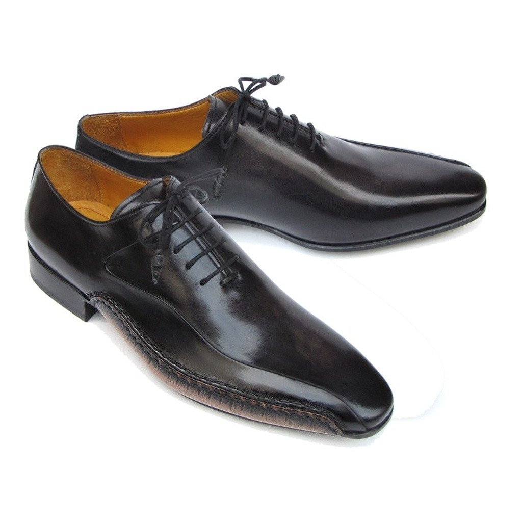 Paul Parkman Men's Black Leather Oxfords - Side Handsewn  (ID#018-BLK)