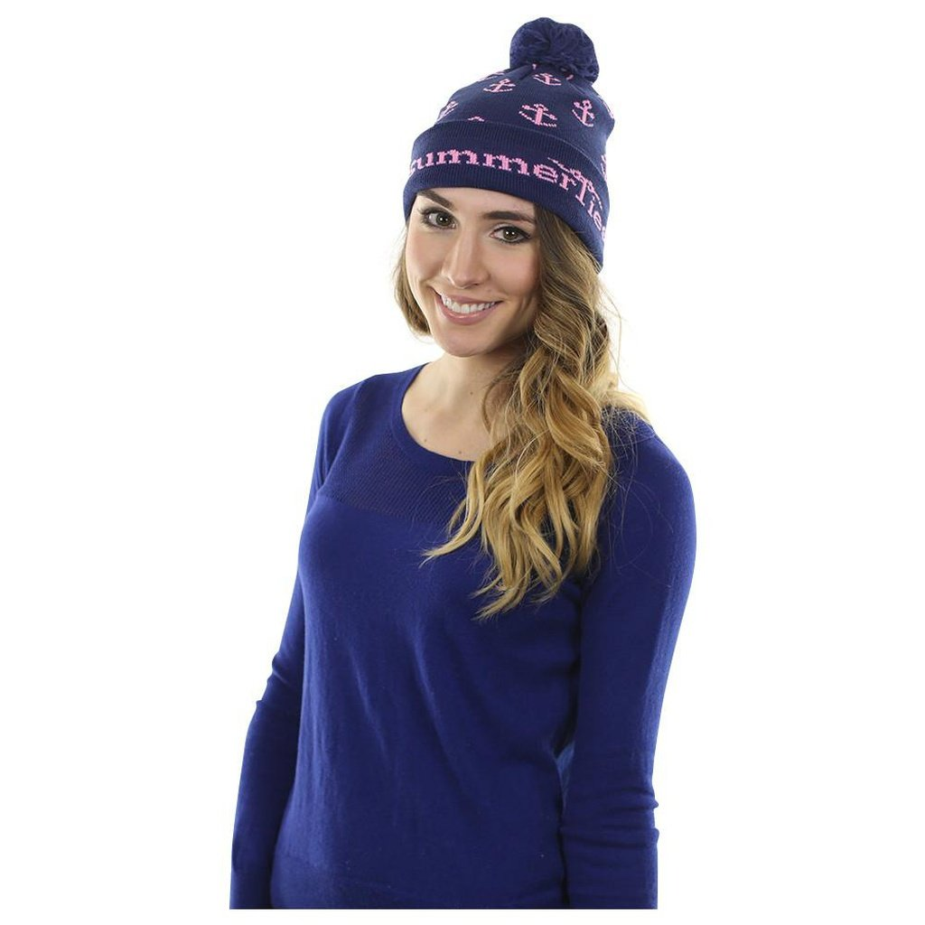 Anchor Winter Hat - Pink on Navy - Sorta Stuff