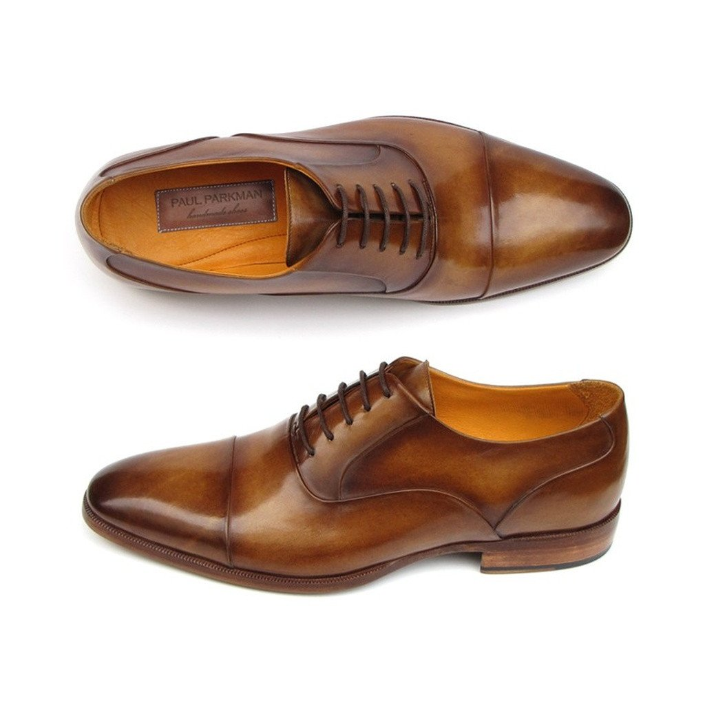 Paul Parkman Men's Captoe Oxfords Brown Leather (ID#074-CML)