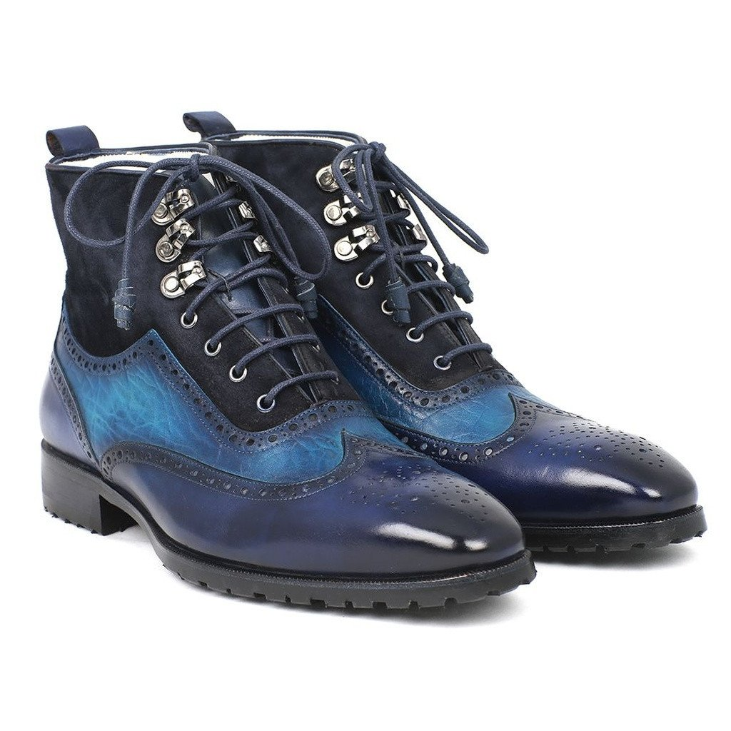 Paul Parkman Men's Wingtip Boots Blue Suede & Leather (ID#971-BLU) - Sorta Stuff