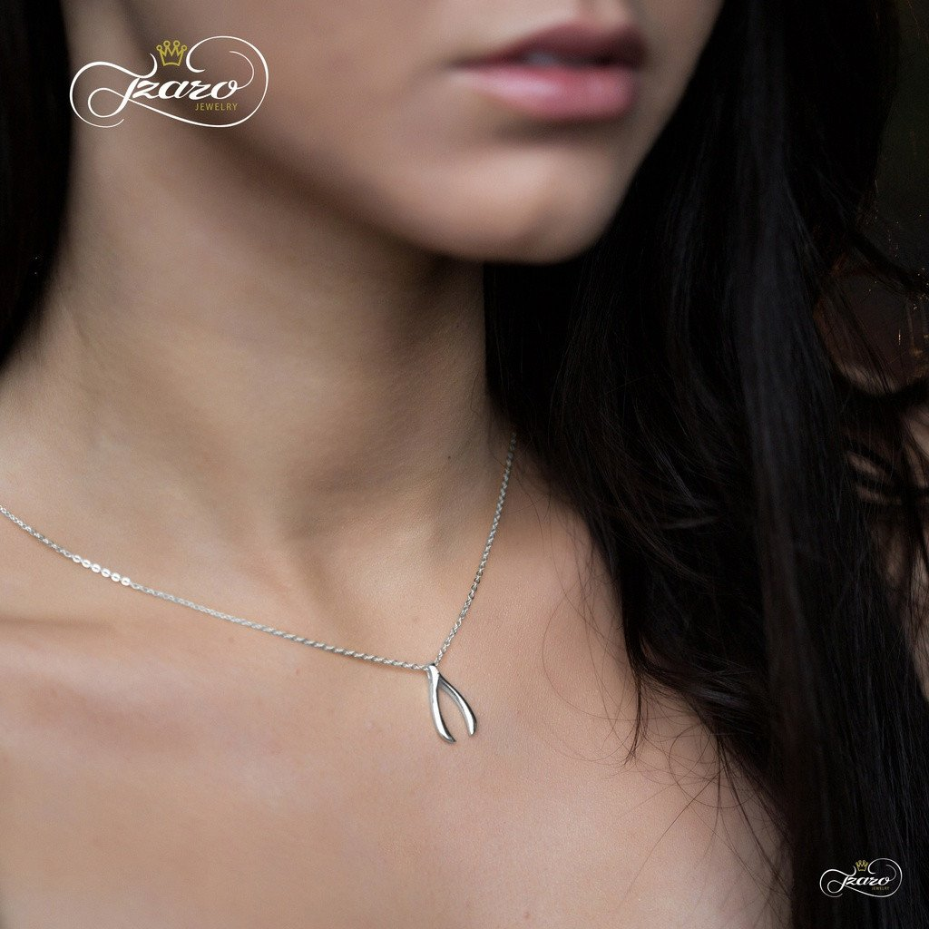 Delicate Wishbone Necklace, 925 Silver, Silver Plated Wishbone Pendant