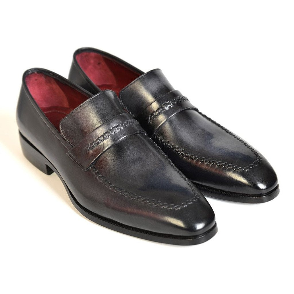 Paul Parkman Gray & Black Men's Loafers For Men (ID#068-GRAY) - Sorta Stuff