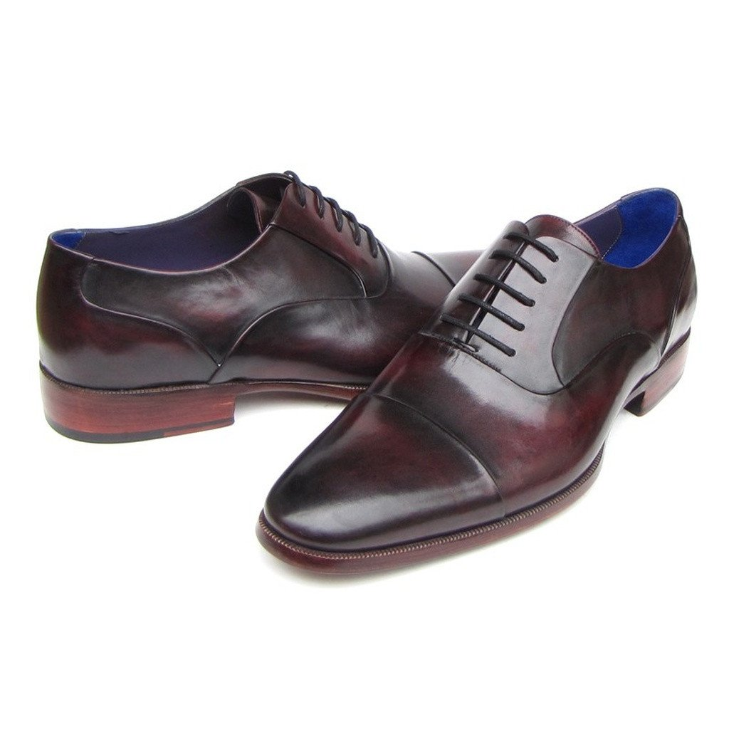 Paul Parkman Men's Captoe Oxfords Black Purple Shoes (ID#074-PURP-BLK) - Sorta Stuff