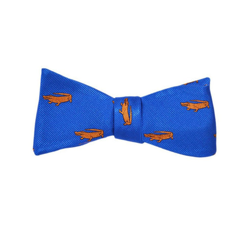 Alligator Bow Tie - Blue, Woven Silk