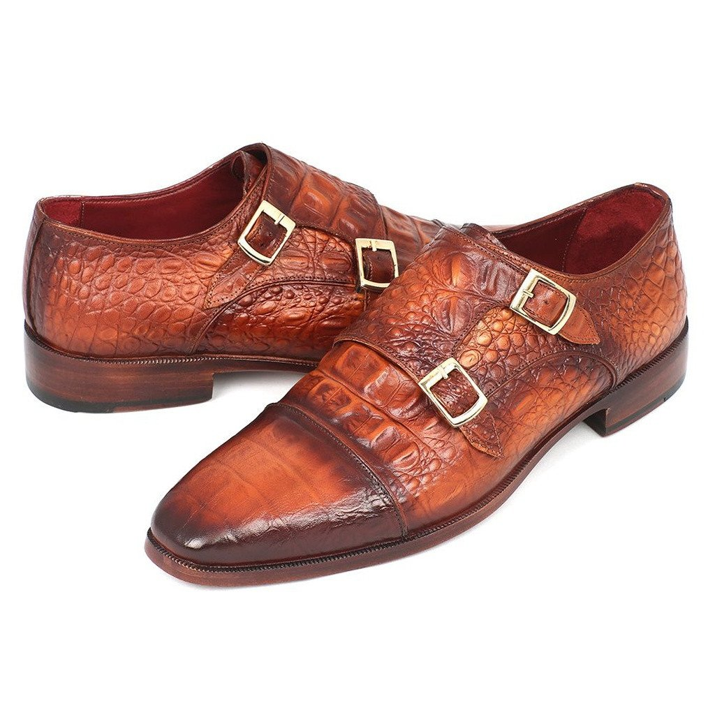 Paul Parkman Men's Double Monkstrap Brown Crocodile Embossed Calfskin (ID#PP2280) - Sorta Stuff