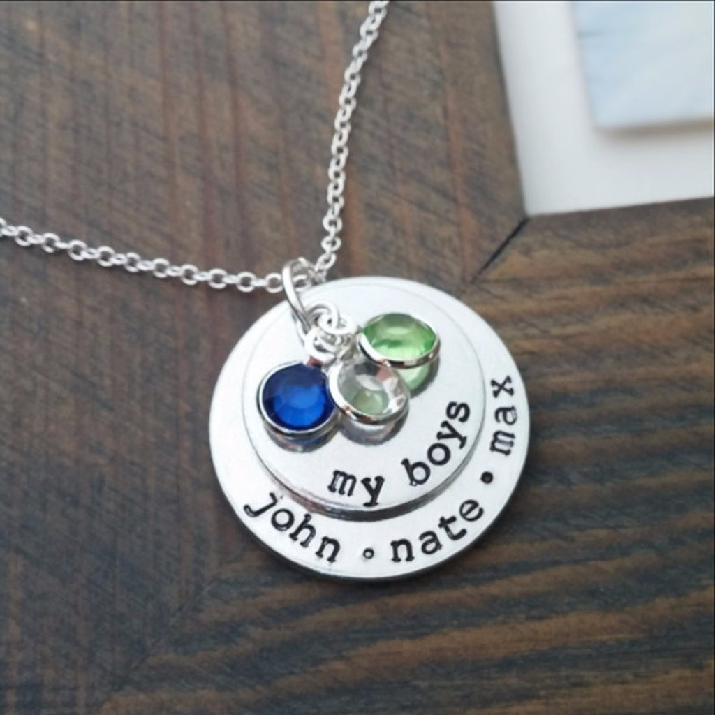 My Boys Necklace with Birthstones - Sorta Stuff