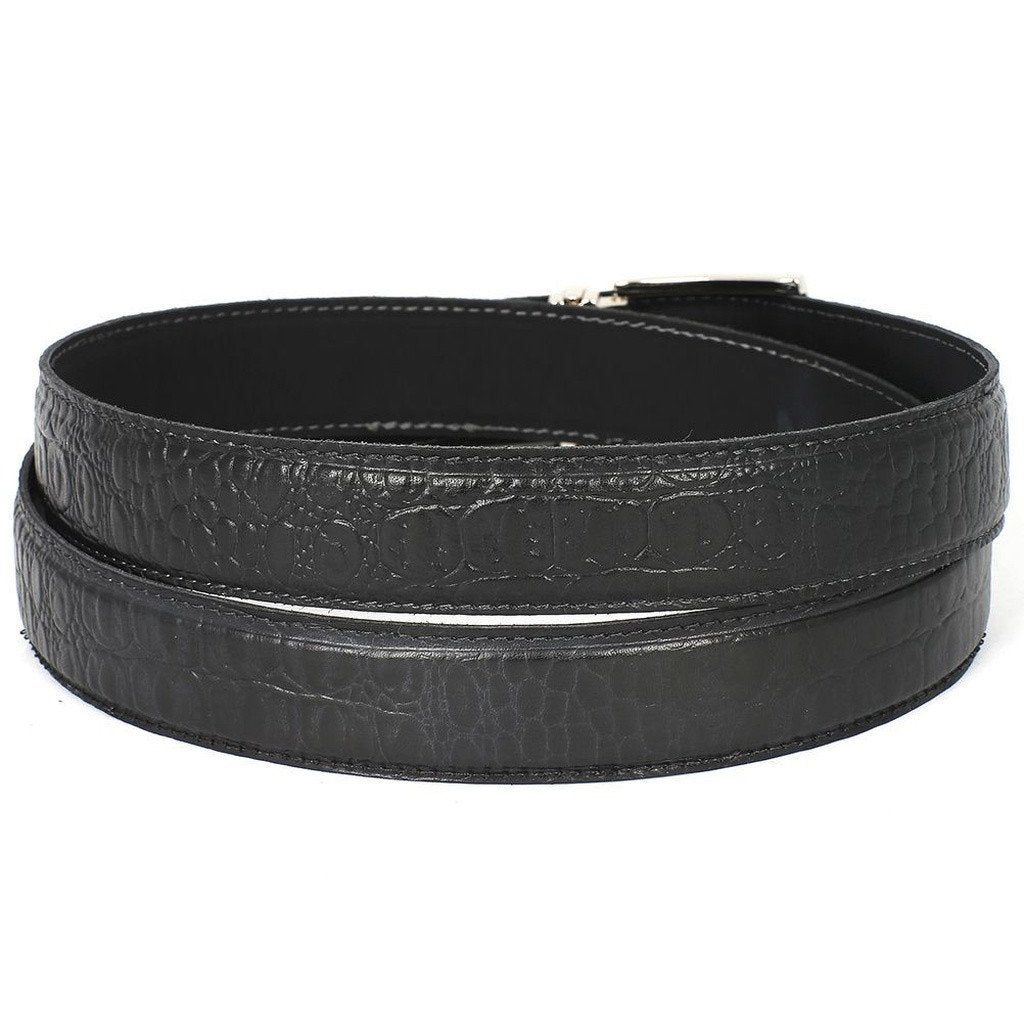PAUL PARKMAN Men's Crocodile Embossed Calfskin Leather Belt Hand-Painted Black (ID#B02-BLK)