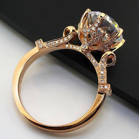 Gold Lord Ring Propose Jewelry 585 Rose Gold 2CT Synthetic Diamonds Ring Engagement Solid Rose Gold Jewelry 585 Round Customized T190924