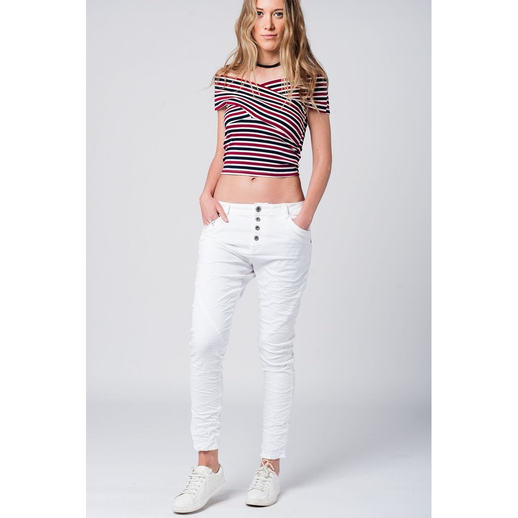 Crossed sleeves red striped crop top - Sorta Stuff