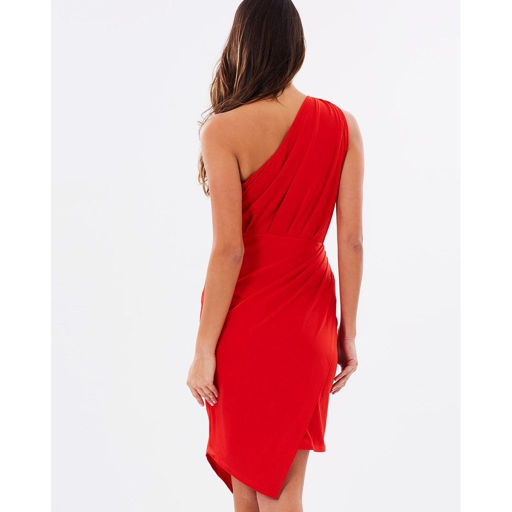 One Shoulder Asymmetrical Dress - Red - Sorta Stuff