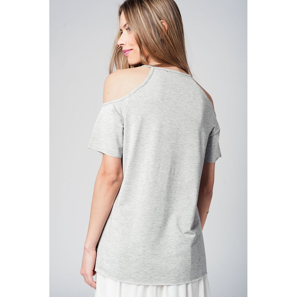 Grey cold shoulder top - Sorta Stuff