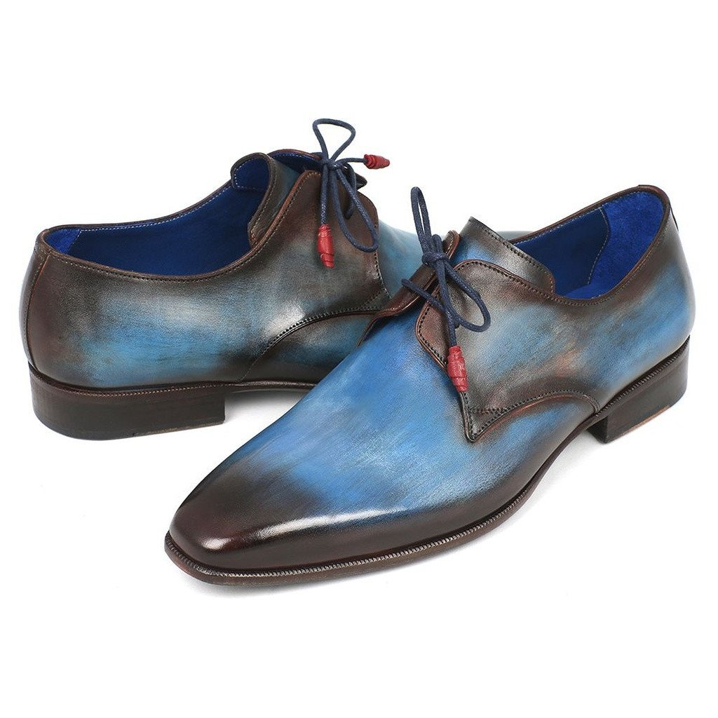 Paul Parkman Men's Blue & Brown  Derby Shoes (ID#326-BLU) - Sorta Stuff
