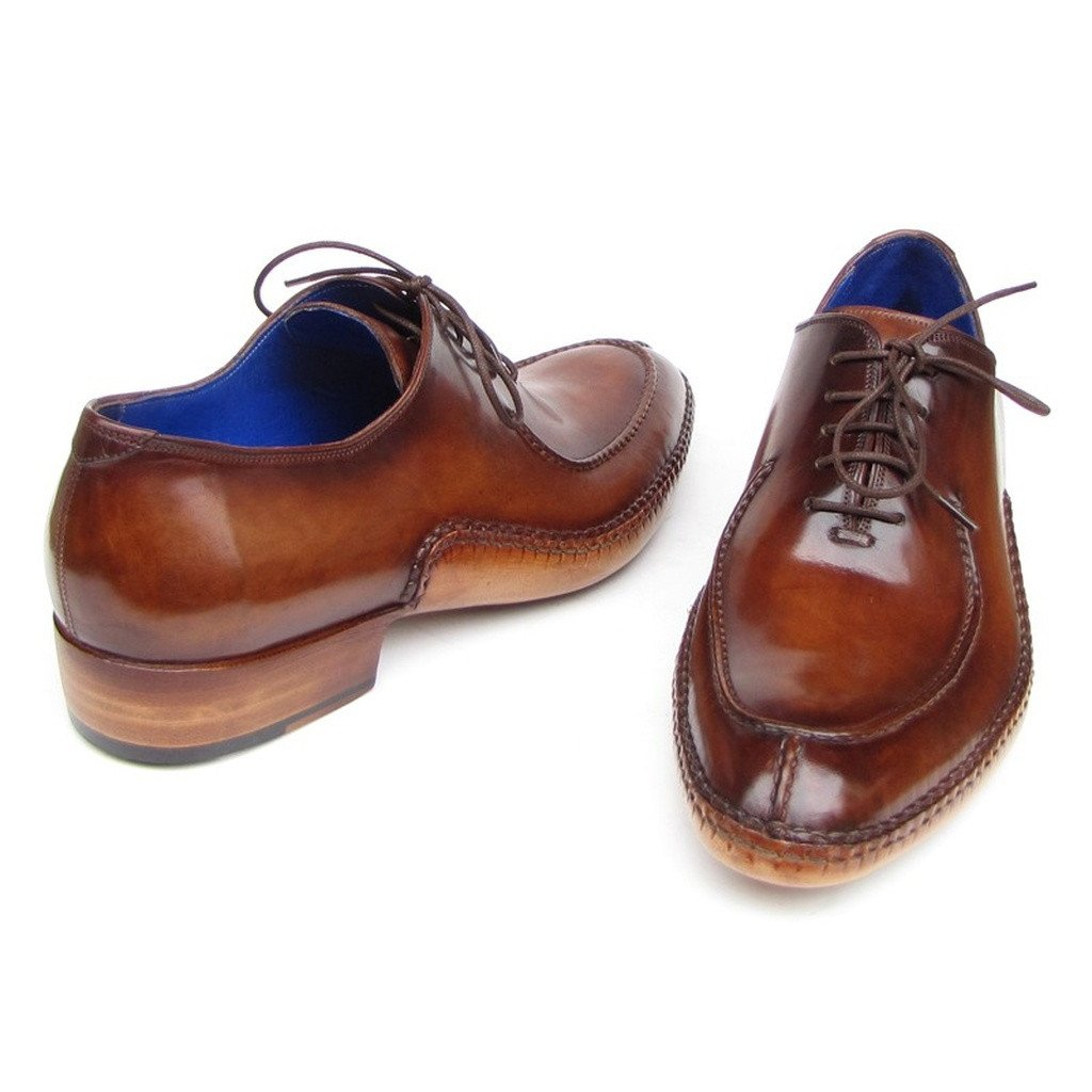 Paul Parkman Men's Side Handsewn Split-toe Brown Oxfords (ID#054-BRW) - Sorta Stuff