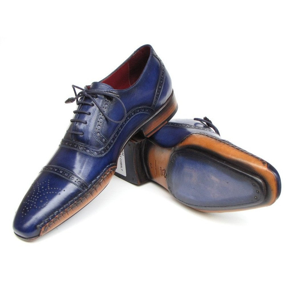 Paul Parkman Men's Captoe Navy Blue Oxfords (ID#5032-NAVY)