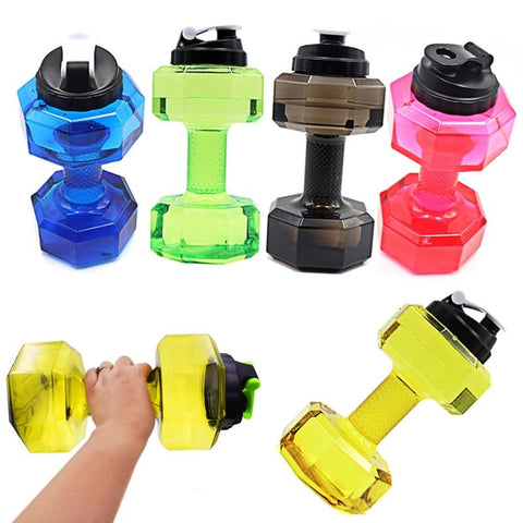 2.2L Pocket Dumbbell Shape Water Bottle Gym Fitness Body Building Exercise Equipment Sports Accessories mancuernas gimnasio