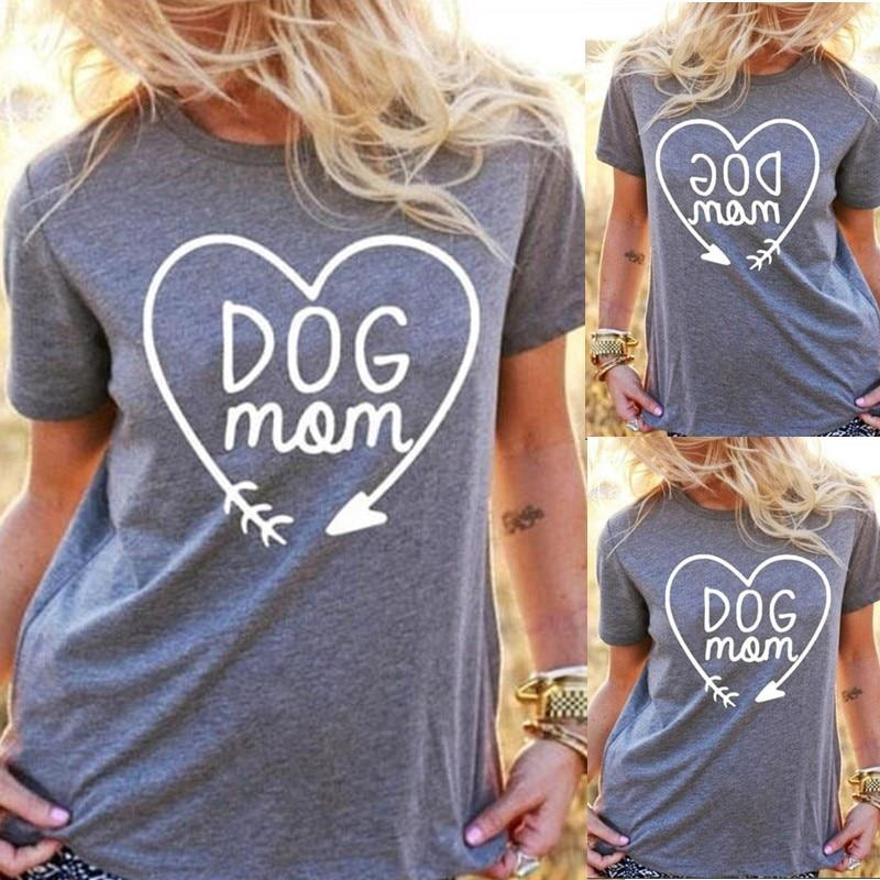 Dog Mom T Shirt for Animal Lovers T-Shirts Short Sleeve Lady Top Shirts Women Tops Tees - Sorta Stuff