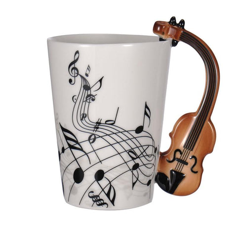 Guitar Ceramic Cup Personality Music Note Milk Juice Lemon Mug Coffee Tea Cup Home Office Drinkware Unique Gift