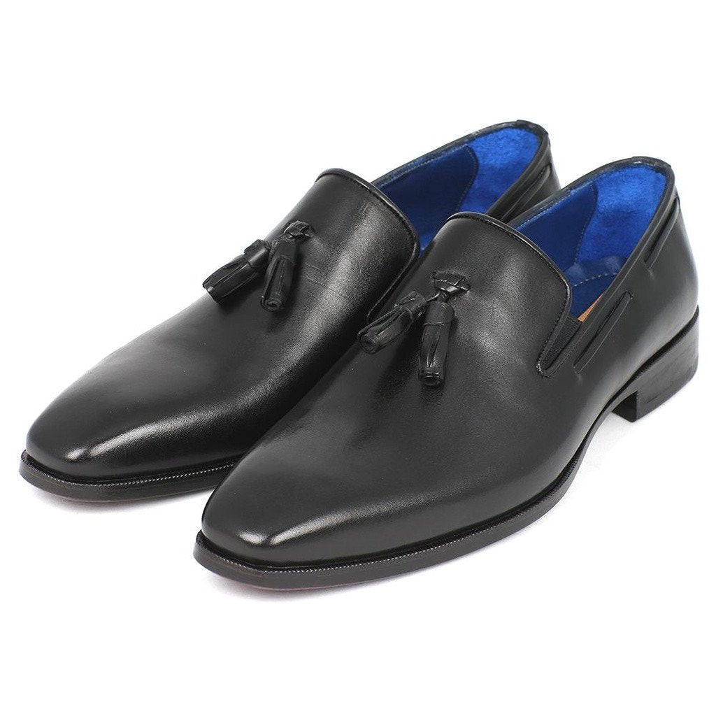 Paul Parkman Men's Tassel Loafer Black Leather Upper & Leather Sole (ID#5141-BLK) - Sorta Stuff