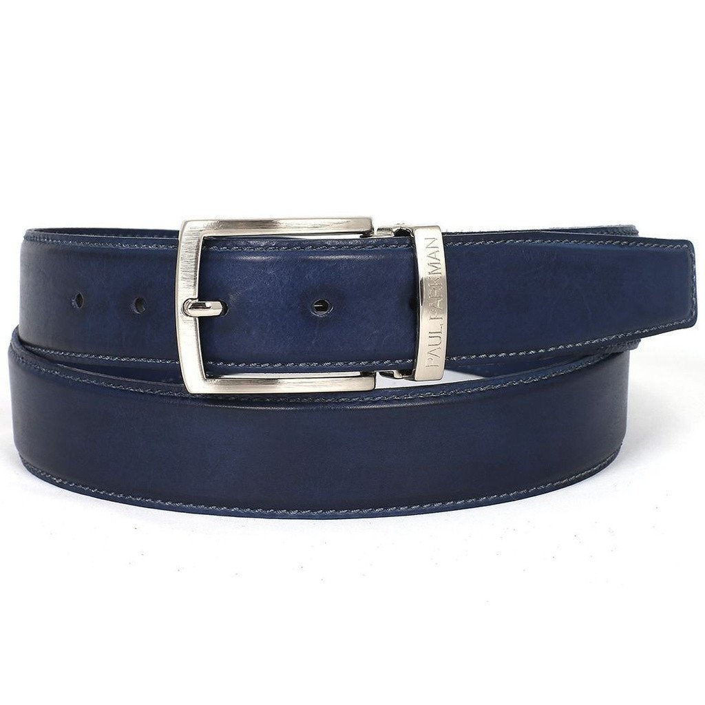 PAUL PARKMAN Men's Leather Belt Hand-Painted Navy (ID#B01-NVY) - Sorta Stuff