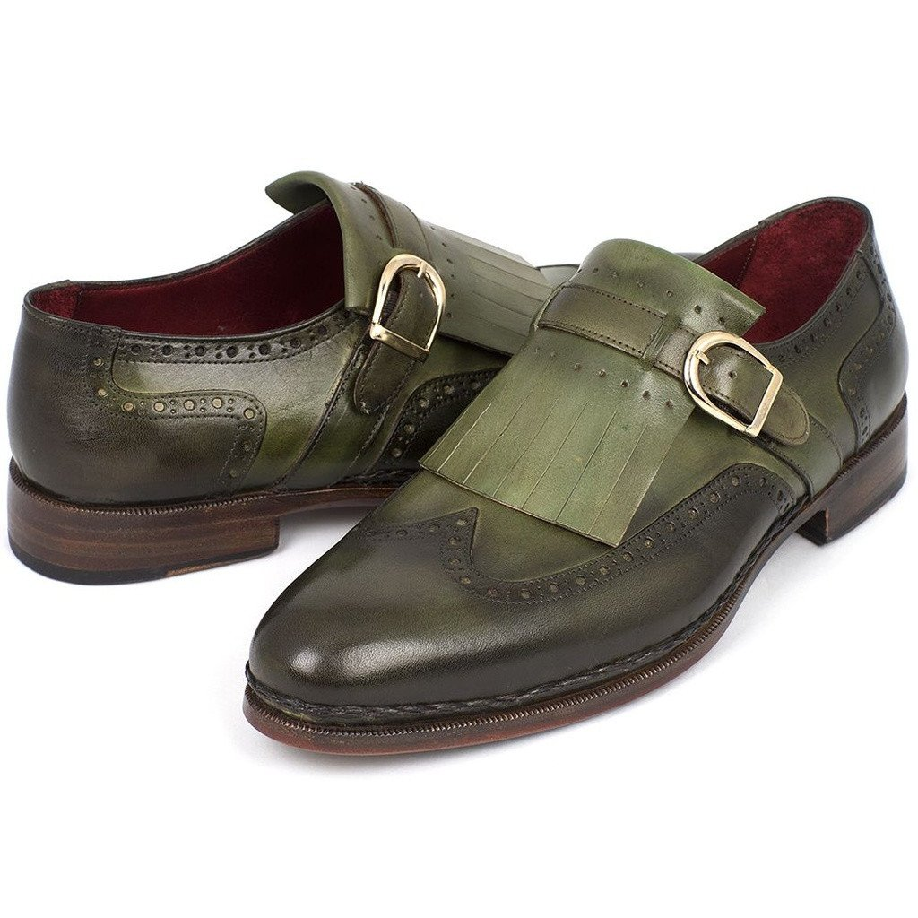Paul Parkman Men's Wingtip Monkstrap Brogues Green  Leather Upper With Double Leather Sole (ID#060-GREEN) - Sorta Stuff