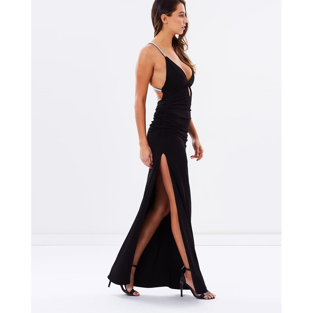 Cross Strap Evening Dress - Black - Sorta Stuff