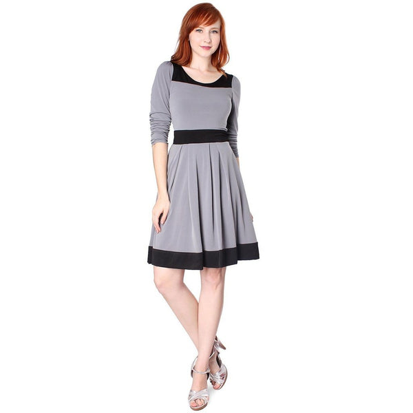 Evanese Women's Casual Two Tone Long Sleeve Knee Length A Line Day Dress