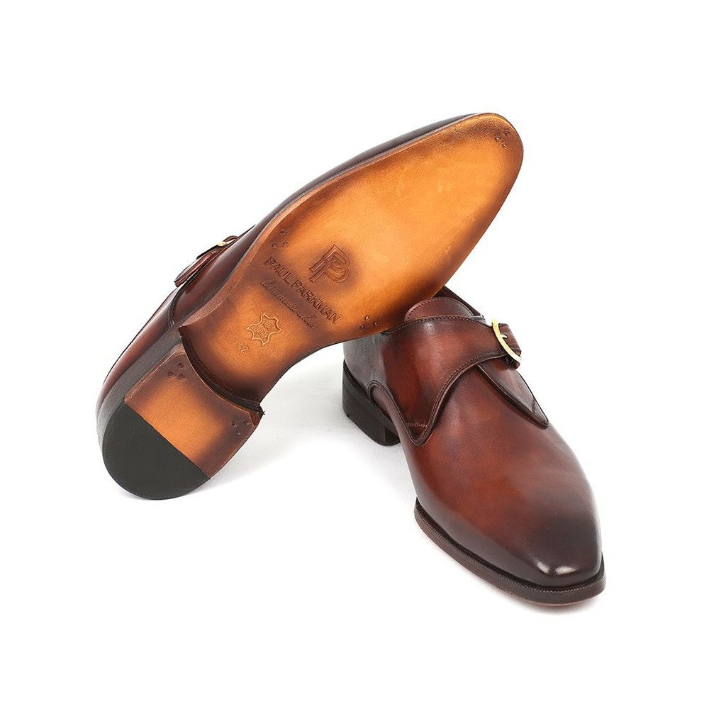 Paul Parkman Men's Monkstrap Dress Shoes Brown & Camel (ID#011B44) - Sorta Stuff