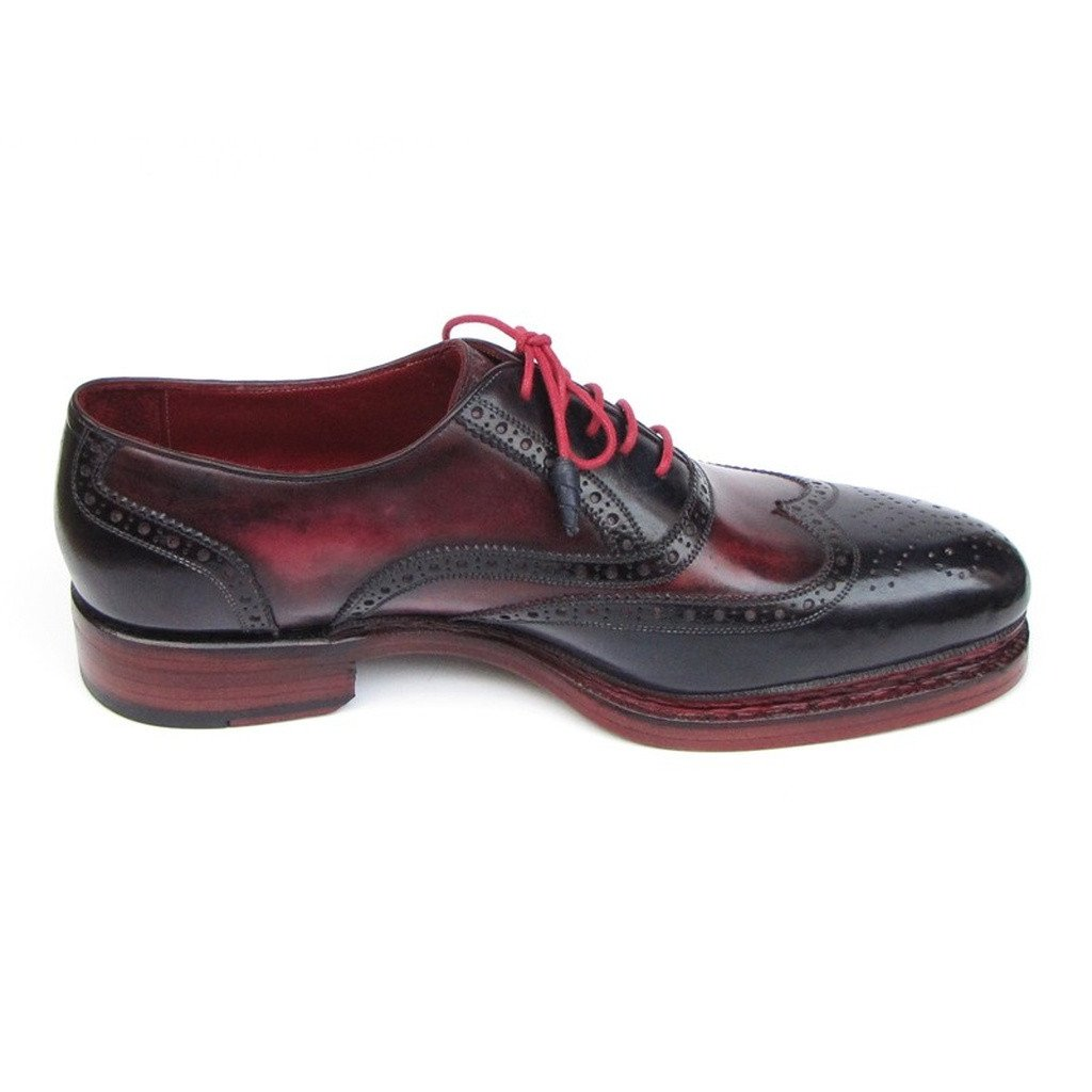 Paul Parkman Men's Triple Leather Sole Wingtip Brogues Navy & Red (ID#027-TRP-NVYBRD) - Sorta Stuff