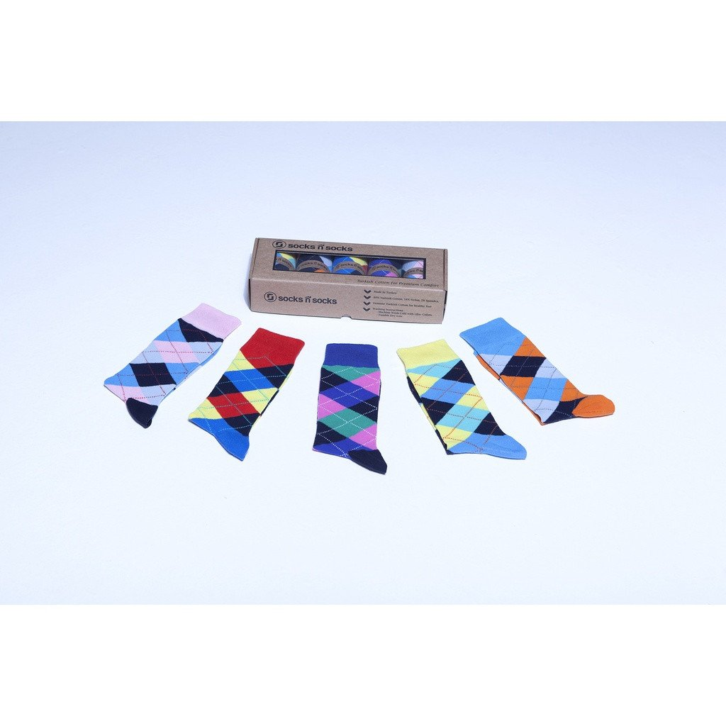 Men's 5-Pair Funky Argyle Socks - Sorta Stuff