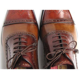 Paul Parkman Men's Captoe Oxfords - Camel / Red   (ID#024-CML-BRD)
