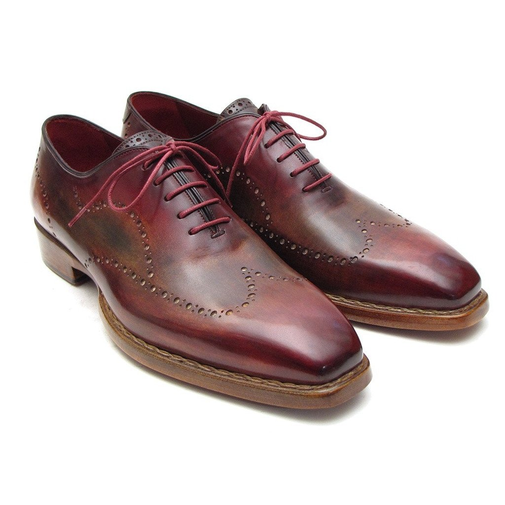 Paul Parkman Men's Wingtip Oxford Goodyear Welted Bordeaux & Camel (ID#087LX) - Sorta Stuff
