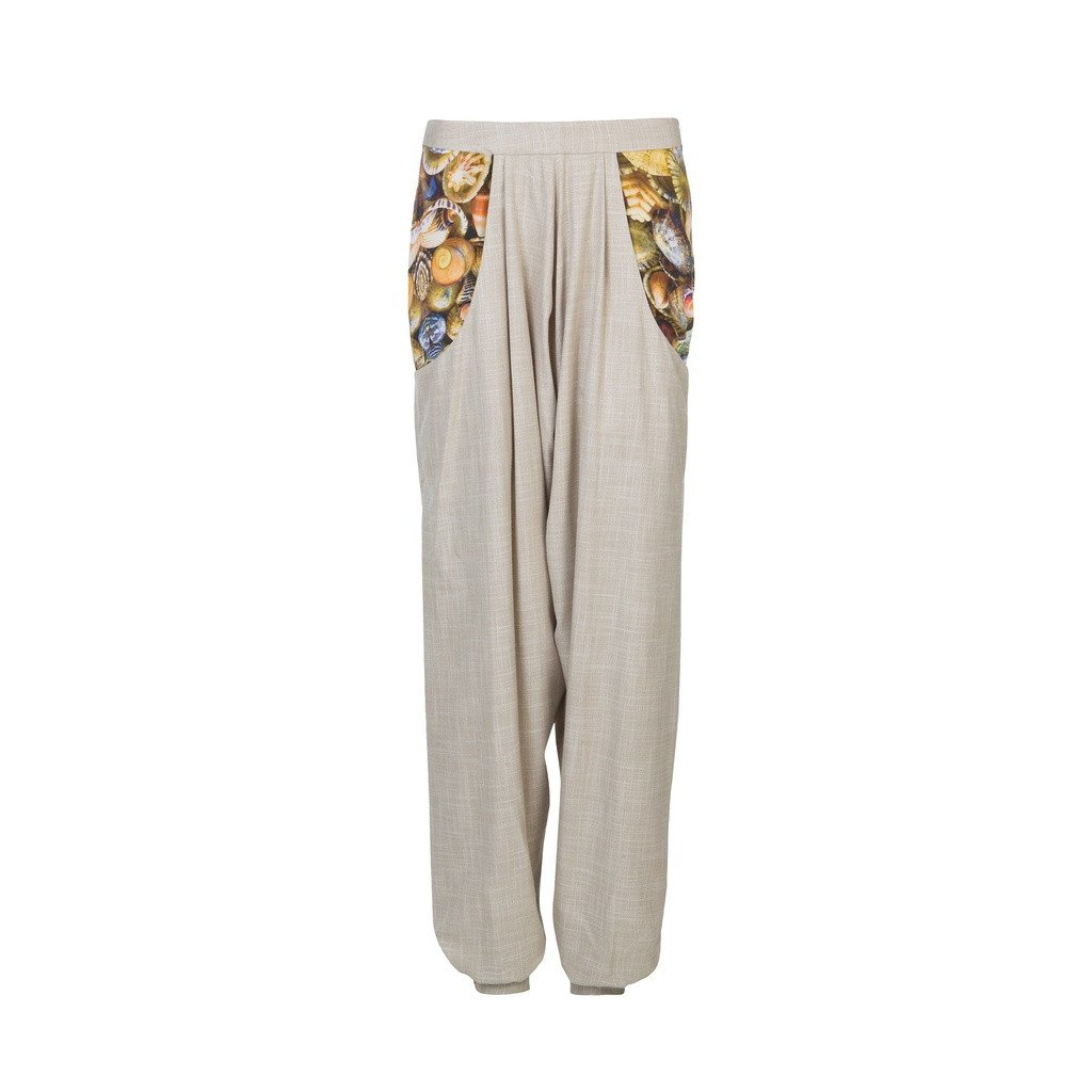 Harrem bamboo pants with digitally printed pockets - Sorta Stuff