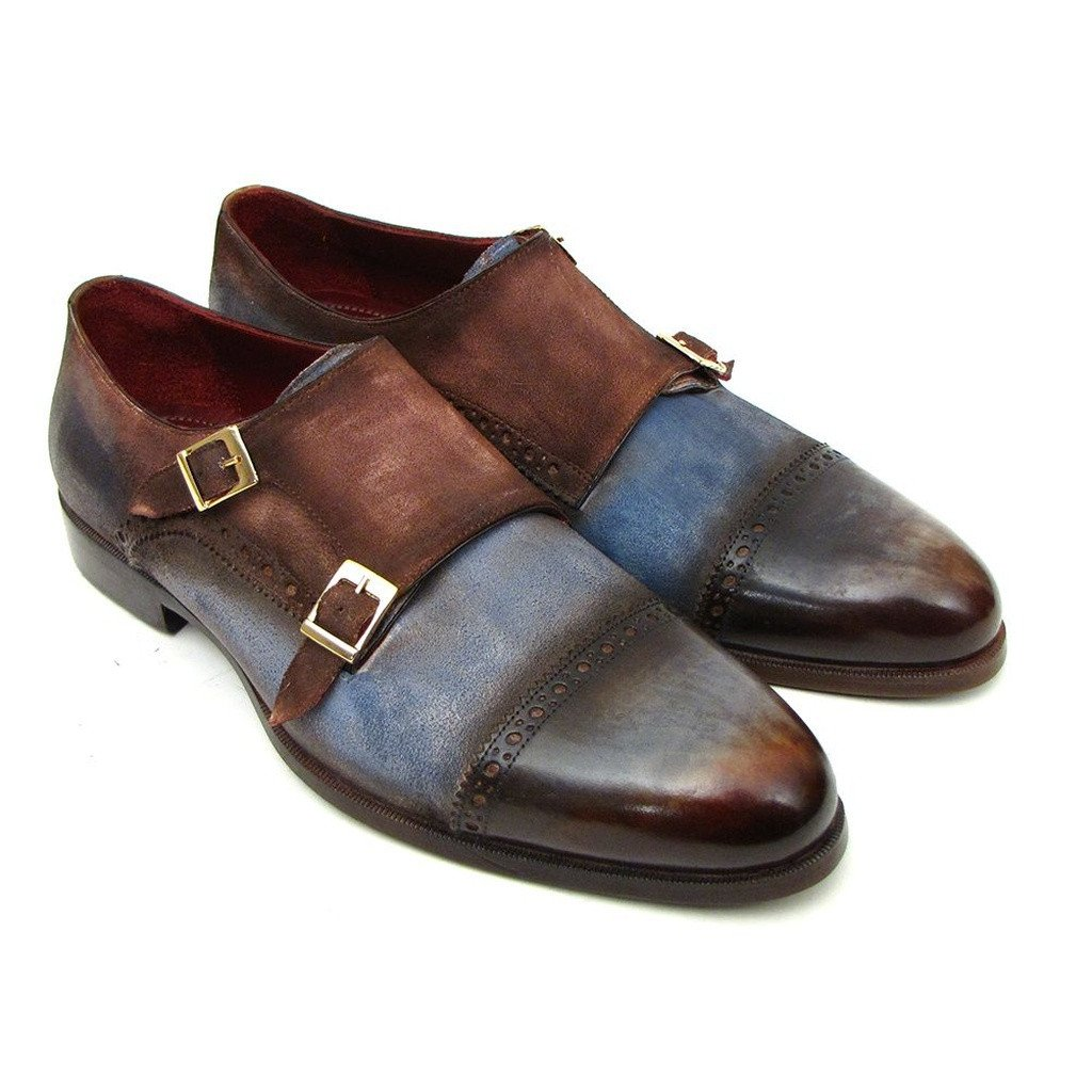 Paul Parkman Men's Captoe Double Monkstrap Antique Blue & Brown Suede (ID#045AN14) - Sorta Stuff