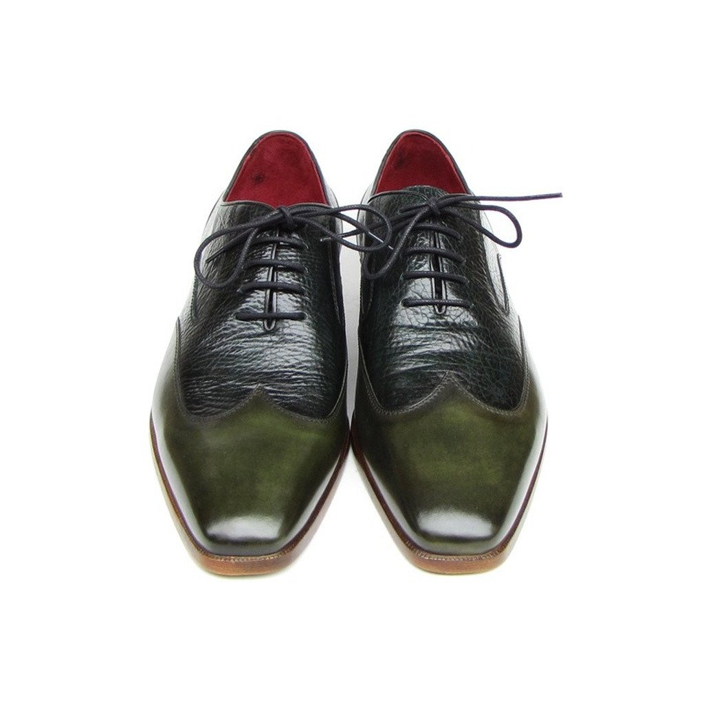 Paul Parkman Men's Wingtip Oxford Floater Leather Green (ID#023-GREEN) - Sorta Stuff