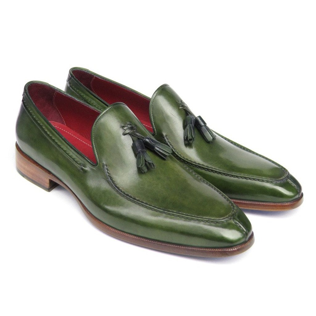 Paul Parkman Men's Tassel Loafer Green Leather (ID#083-GREEN) - Sorta Stuff