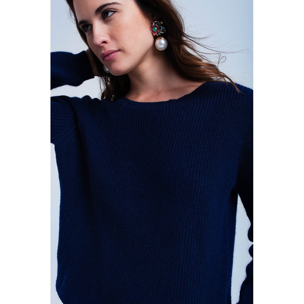 Navy sweater with black ribbons - Sorta Stuff