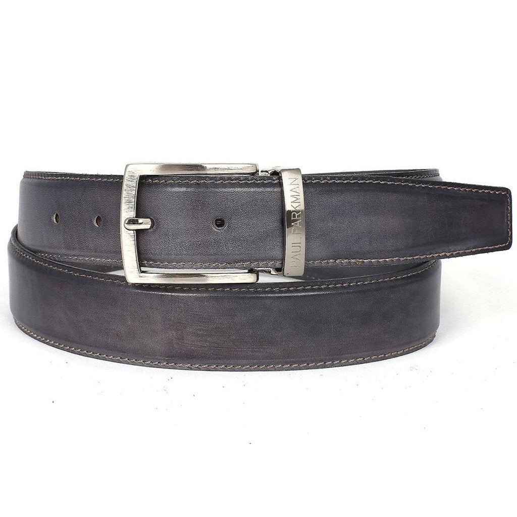 PAUL PARKMAN Men's Leather Belt Hand-Painted Gray (ID#B01-GRAY) - Sorta Stuff