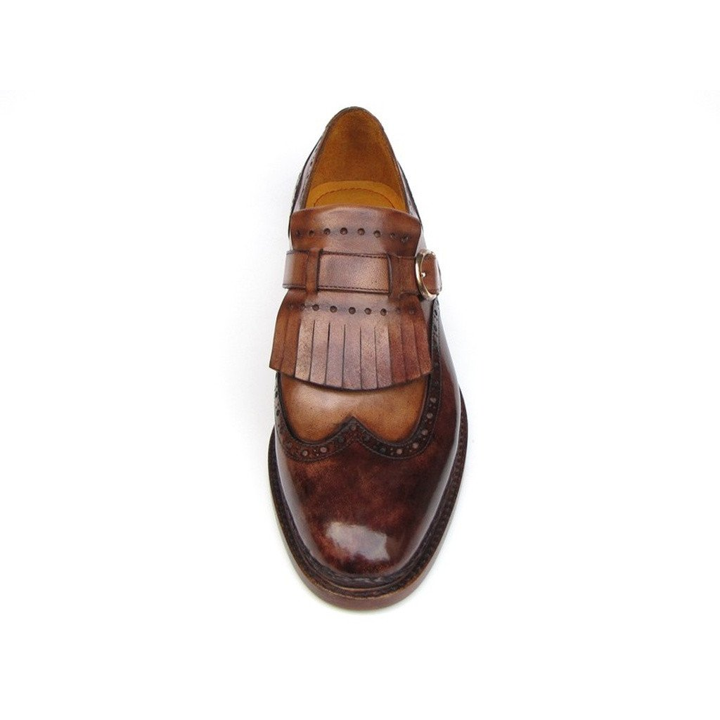 Paul Parkman Men's Wingtip Monkstrap Brogues Brown  Leather Upper With Double Leather Sole (ID#060-BRW) - Sorta Stuff