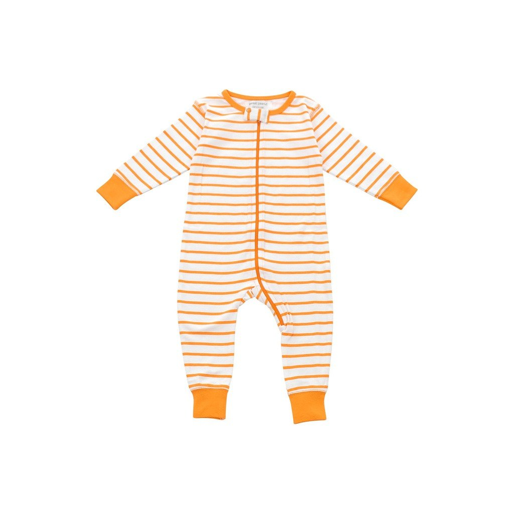 long romper in orange marseille stripe - Sorta Stuff