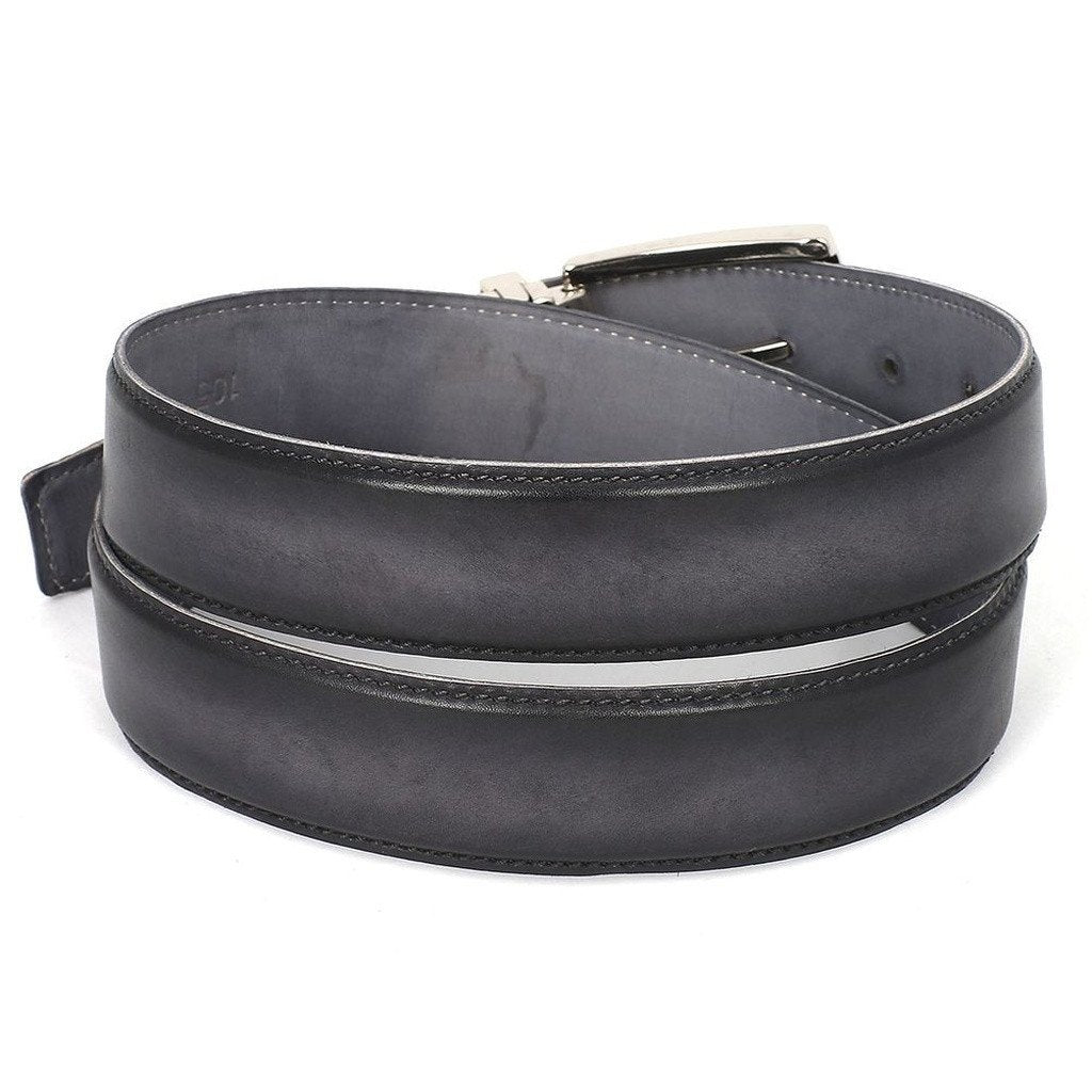 PAUL PARKMAN Men's Leather Belt Dual Tone Hand-Painted Gray & Black (ID#B01-GRY-BLK) - Sorta Stuff