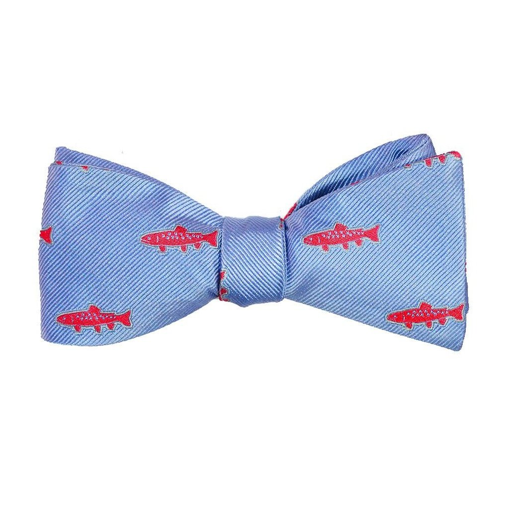 Trout Bow Tie - Light Blue, Woven Silk - Sorta Stuff