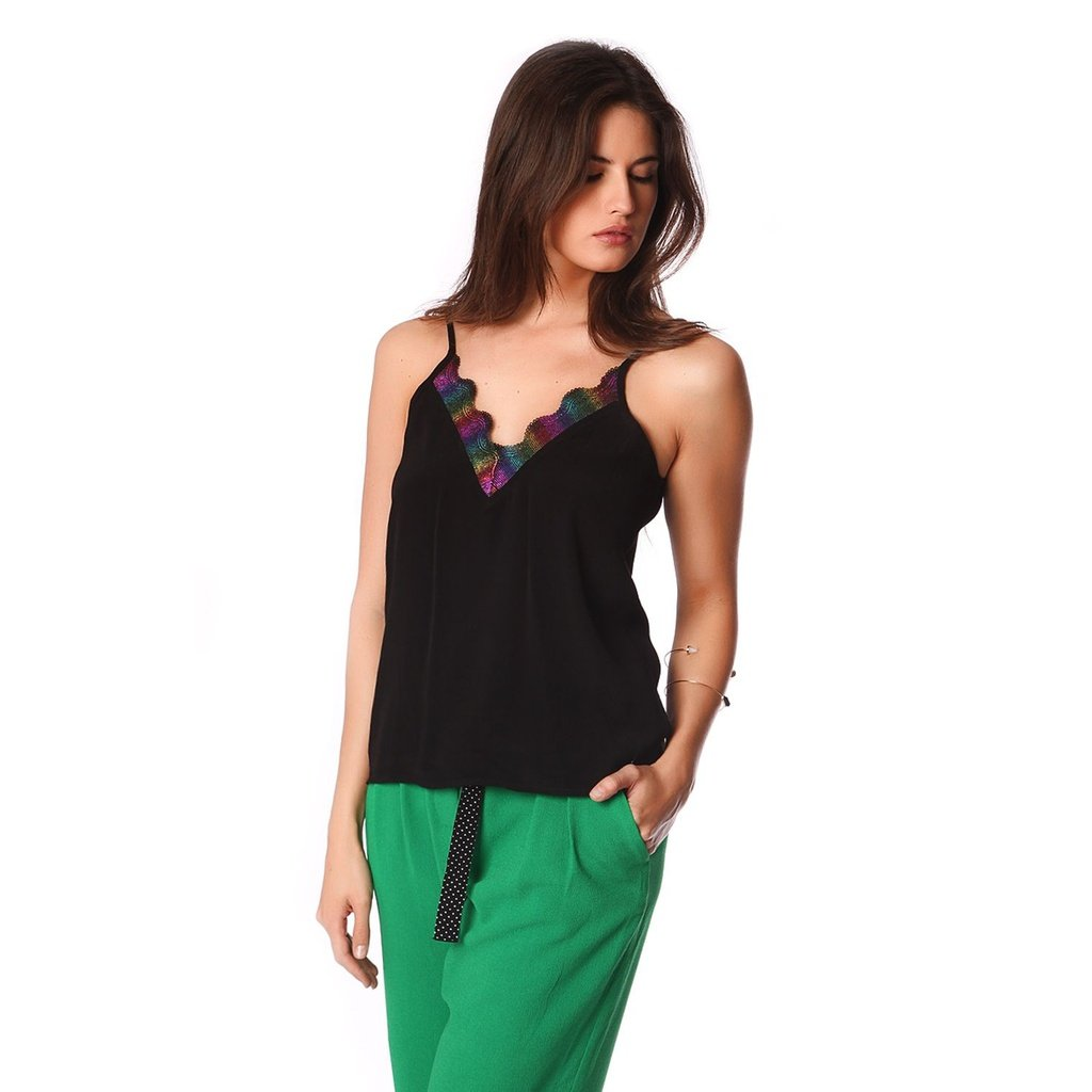 Black cami top with multi color cage detail - Sorta Stuff