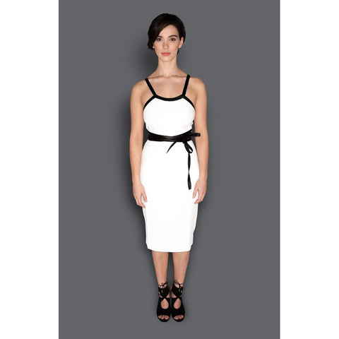 White & Black Wrap Around Belt Fitted Sheath Dress - Sorta Stuff